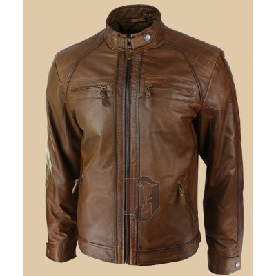 Men Tan soft Leather Jacket