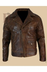 Men's Vintage Biker Leather Jacket | Dark Brown Distressed Leather Jacket