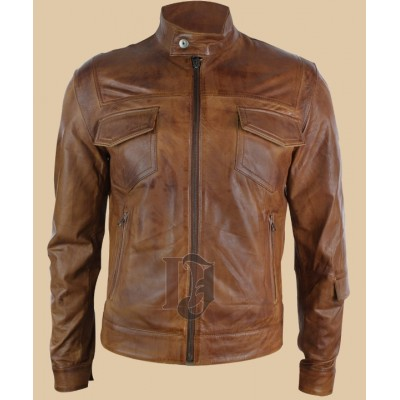 Mens Vintage Brown Leather Jacket | Distressed Jackets