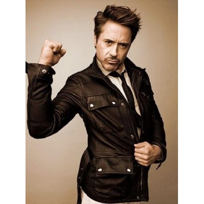 Robert Downey Black Men's Leather Jacket | Superstar black jackets