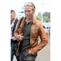 Mads Mikkelsen Leather Jackets   Brown Leather Jackets