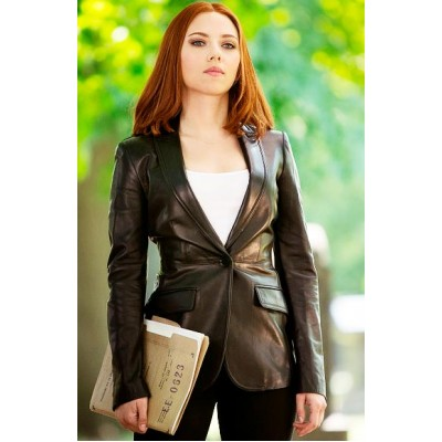 Scarlett Johansson Black Trench Style Coat Leather Jackets | Superstar Jackets