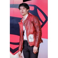 Ezra Miller Red Leather Jacket | Celeb Red Jackets
