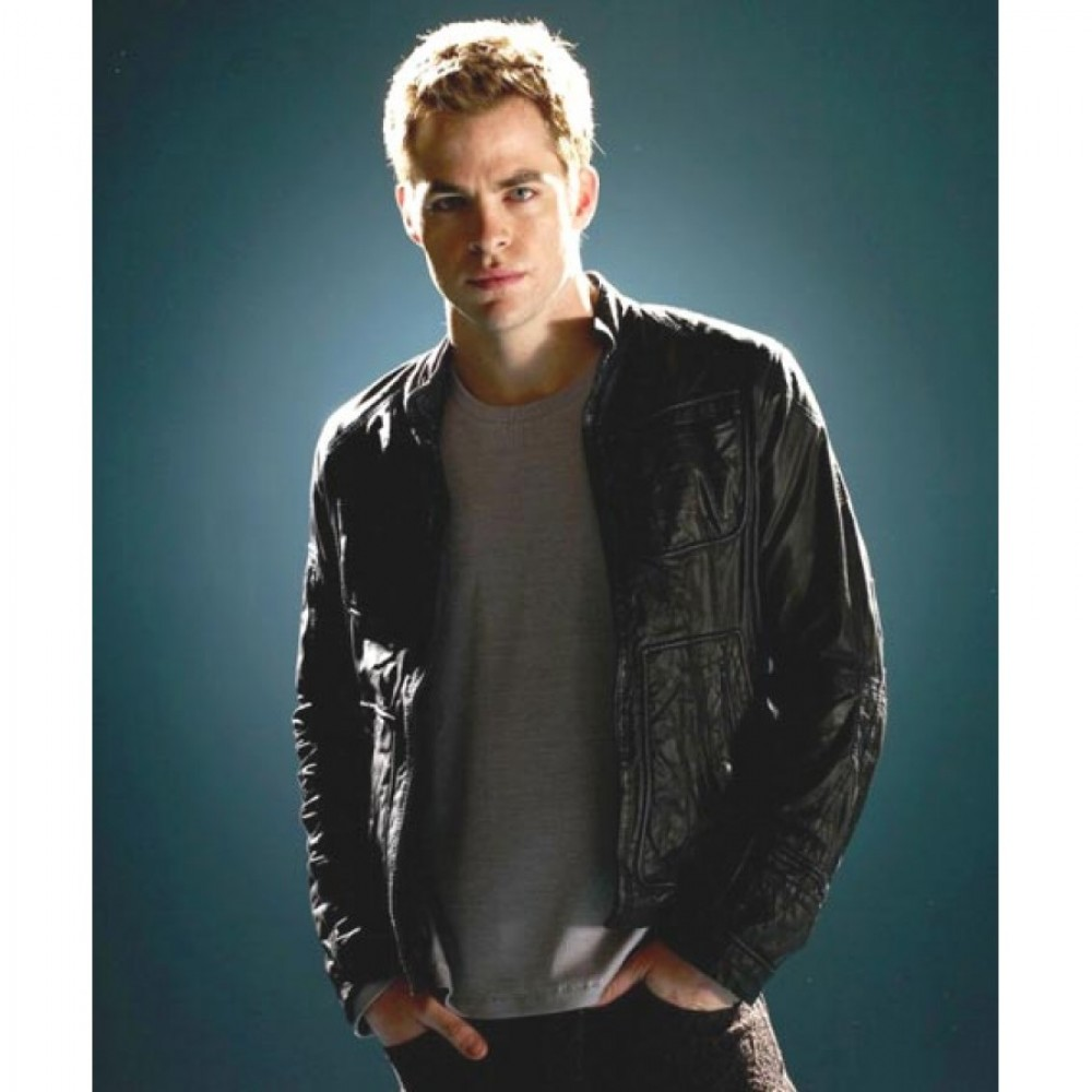 Star Trek Chris Pine Black Men's Leather Jacket | Mens Black Jacket