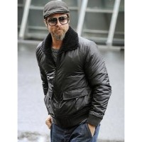 Brad Pitt Black Bomber Men's Leather Jackets | Black Jackets