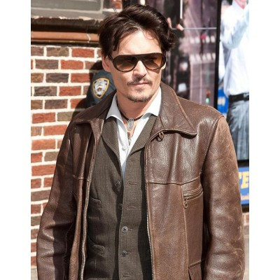 Johnny Depp Dark Brown Biker Jacket | Distressed Leather Jackets