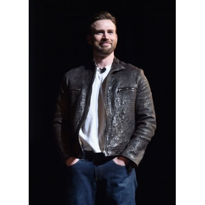 Chris Evans Men's Brown Leather Jacket | Distressed Jacket
