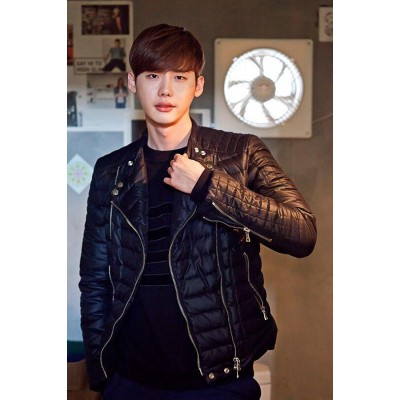 Lee Jong Suk Quilted Style Black Men's Jacket | Quilted Leather Jackets
