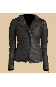 Distressed Vintage Womens Biker Soft Zipper Leather Jacket For Sale