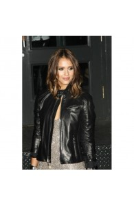 Jessica Alba Fashionable Black Leather Jacket | Womens Casual Black Jackets
