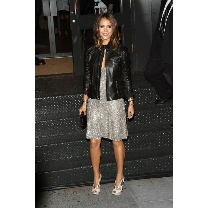f05a53ff46 ... Jessica Alba Fashionable Black Leather Jacket | Womens Casual Black  Jackets ...