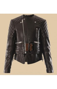 Miranda Kerr Quilted Motorcycle Jacket | Quilted Leather Jacket