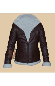 Smash Katharine McPhee & Uma Thurman Brown Faux Shearling Real Jacket