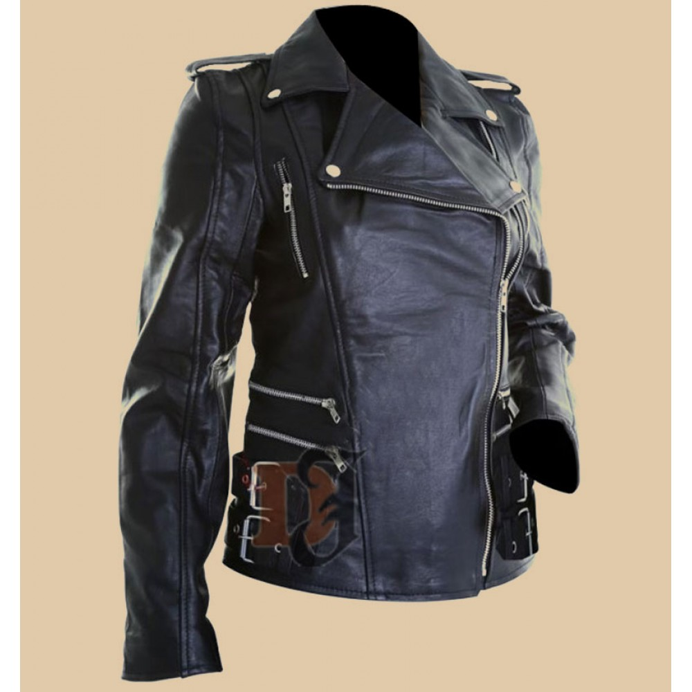 Womens Brando Biker Black Leather Jacket | Women Jackets