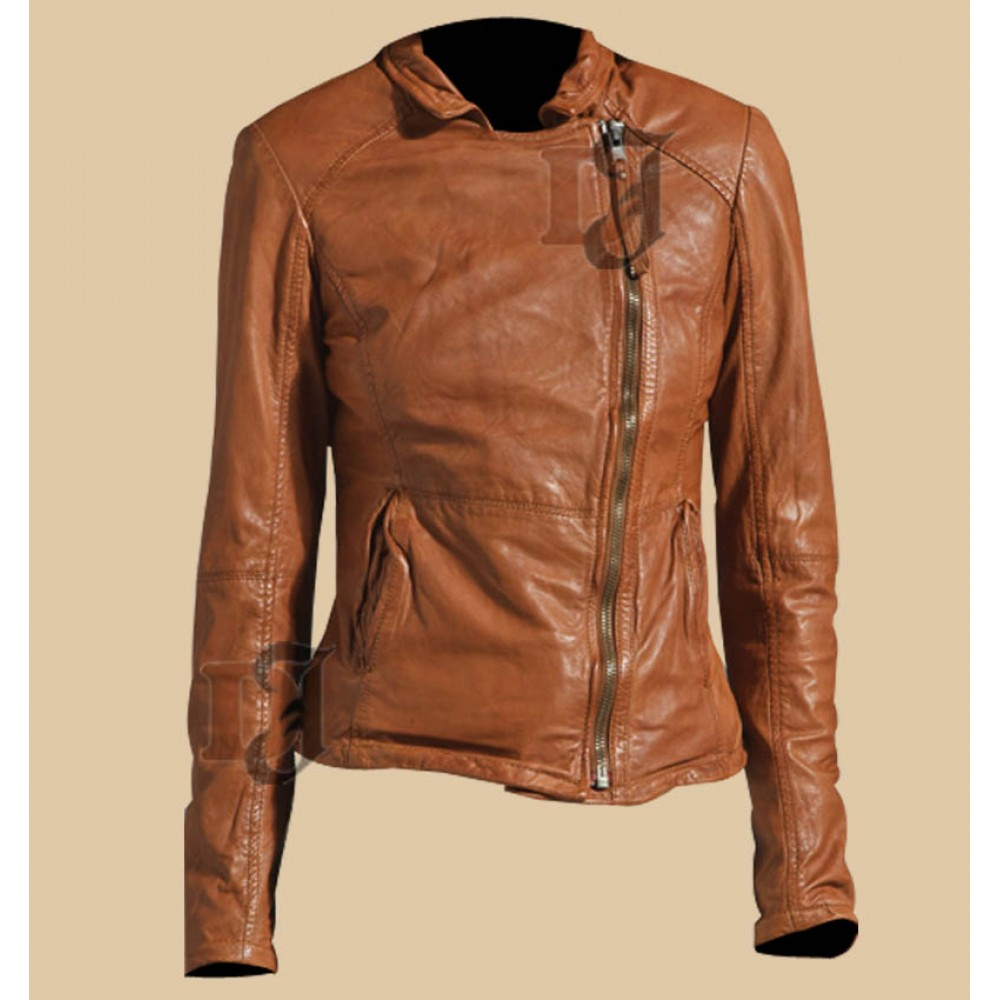 Women's Stylish Light Brown Zipper Jacket | Distressed Jacket