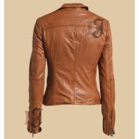 Women's Stylish Light Brown Zipper Jacket   Distressed Jacket