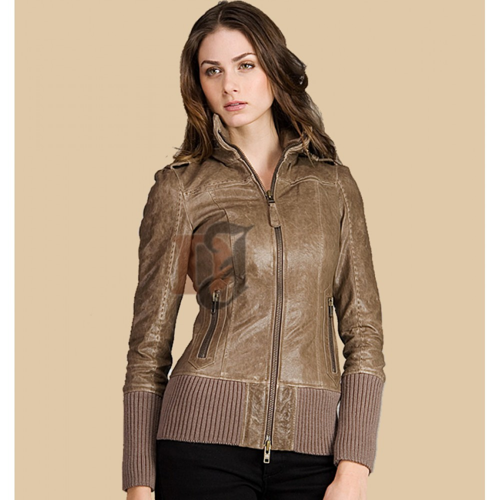 Women Distressed Bomber Brown Jacket | Distressed Jacket Womens