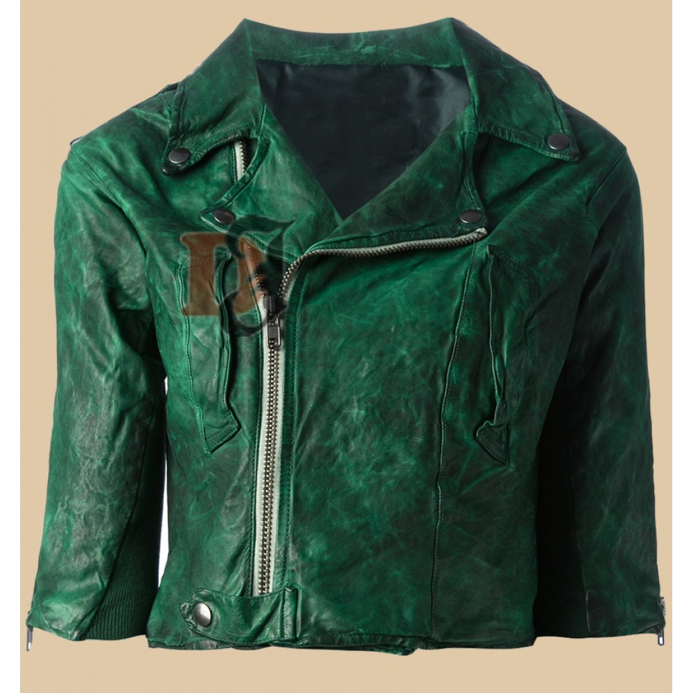 Women Green Distressed Biker Jacket | Distressed Green Jacket