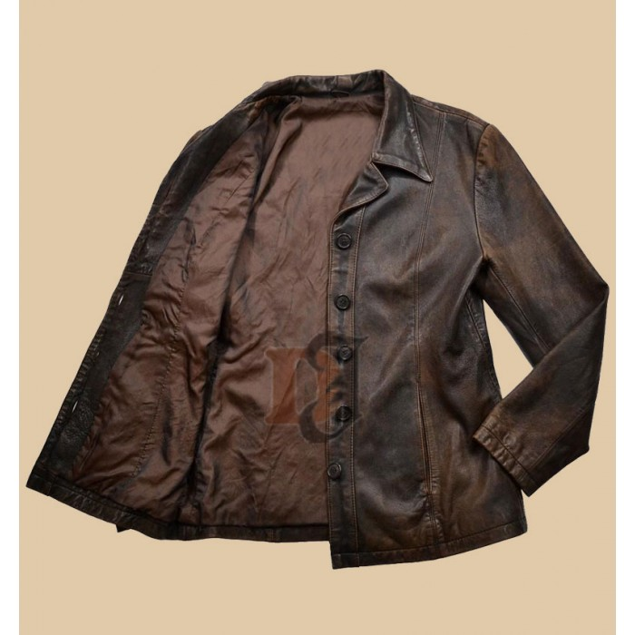 Buy Women Distressed Brown Stylish Faux Jacket