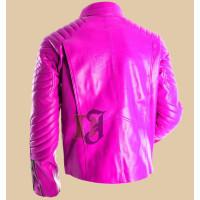 Women's Pink Superman Style Slim Leather Jacket | Women's Faux Leather Jacket