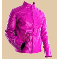 Women's Pink Superman Style Slim Leather Jacket | Women's Faux Leather Jacket