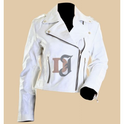 Womens White Leather Motorcycle Jacket | Women White Jackets
