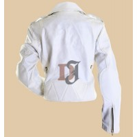 Womens White Leather Motorcycle Jacket | Women White Jackets