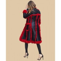Behati Prinsloo Fur Shearling Leather Black And Red Long Coat