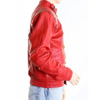 Akira Kaneda Anime Vintage Red Leather Jacket with Capsule