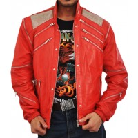 Michael Jackson Beat IT Classic Red Vintage Leather Jacket | Men's Leather Jacket