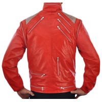 Michael Jackson Beat IT Classic Red Vintage Leather Jacket | Men's Leather Jacket