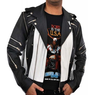 Michael Jackson Pepsi Ad 80s Classic Black White Leather Jacket | Men's Leather Jacket