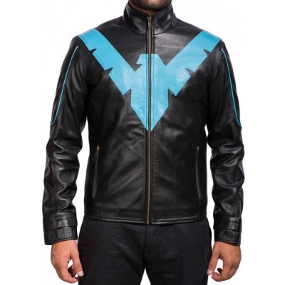 Nightwing Dick Grayson Men's Black Leather Jacket | Men's Leather Jacket