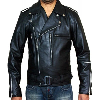 Terminator 2 Black Brando Motorcycle Men's Rider Leather Jacket | Men's Leather Jacket