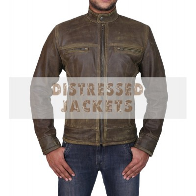 Triple Stitched Cafe Racer Moto Vintage Distressed Green Biker Leather Jacket