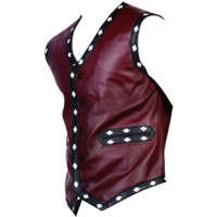 Warriors Vest Vintage Biker's Vest with Flamming Skull | Leather Vest For Biker
