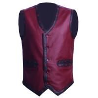 Warriors Vest Vintage Biker's Vest with Flamming Skull   Leather Vest For Biker