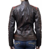 Cafe Racer Vintage Classic Women's OX Blood Waxed Brown Leather Jacket | Women's Leather Jacket