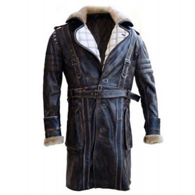 Elder Maxson Fall out Distressed Leather Coat with Fur | Mens Leather Coat
