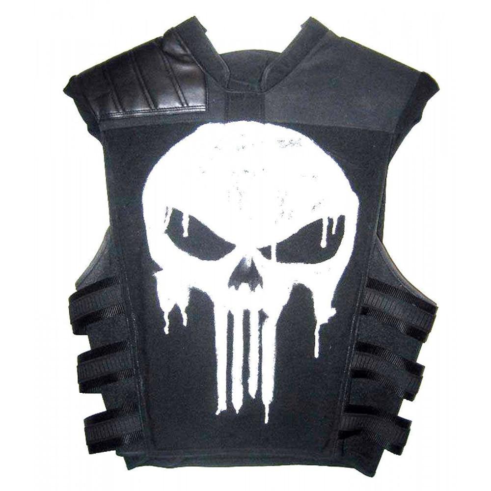 The Punisher Frank Castle Men's Black Leather Skull Jacket   Men's Leather Vest