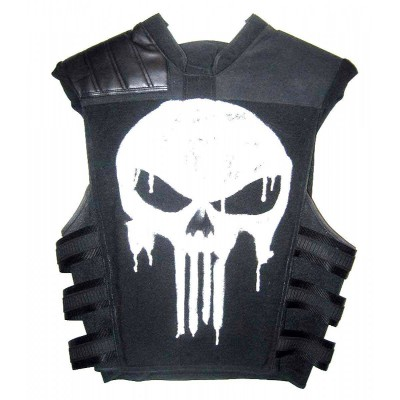 The Punisher Frank Castle Men's Black Leather Skull Jacket | Men's Leather Vest