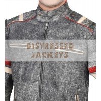 Men's Retro Grey Elephant textured Classic Biker Leather Jacket | Mens Leather Jacket