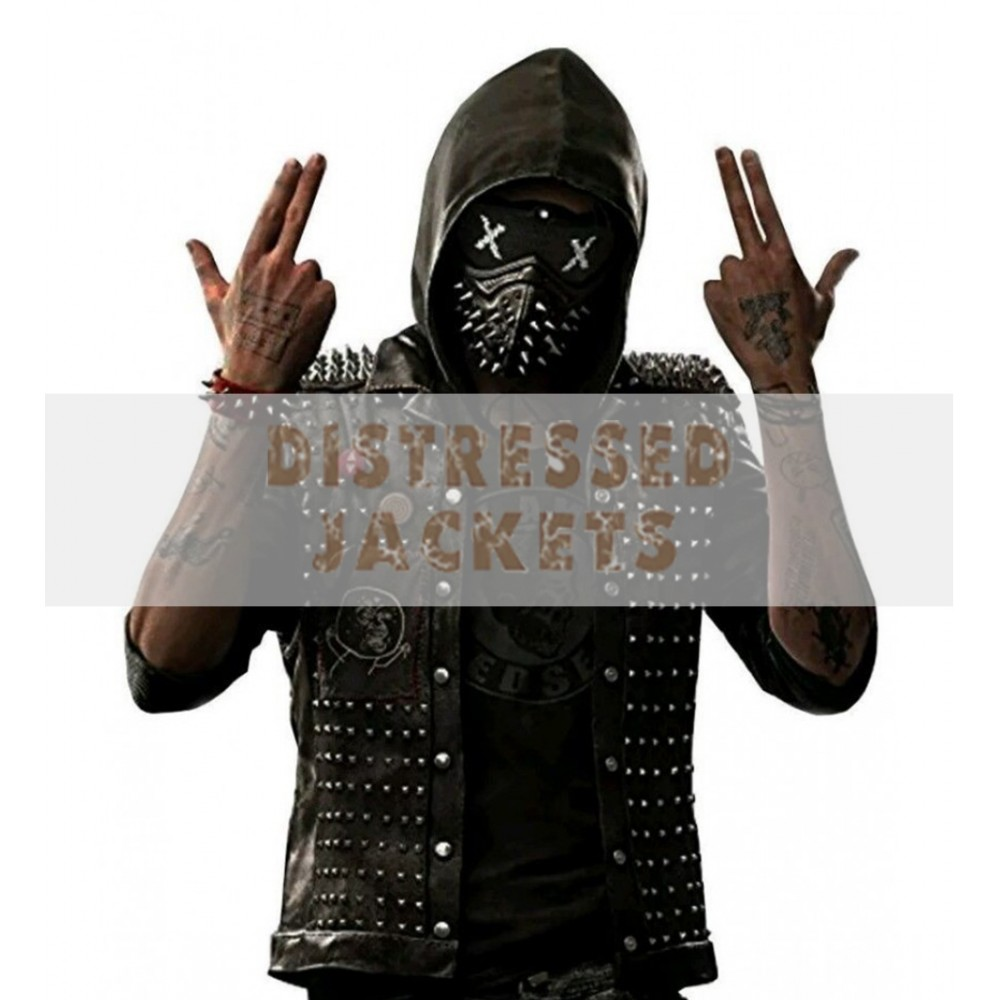 Watch Dog Punk Gaming Leather Vest With Metal Studs | Black Leather Vest