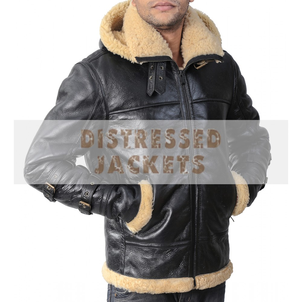 Aviator Bomber B3 Ivory Faux Fur Leather Jacket with Hoodie | Men's Leather Jacket