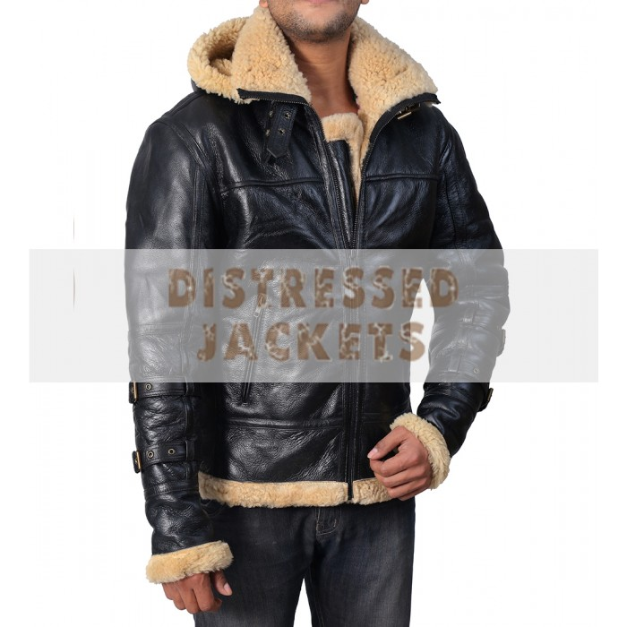 Buy Aviator Bomber B3 Ivory Faux Fur Leather Jacket With Hoodie
