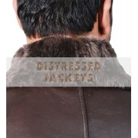 B3 Aviator Bomber Dark Brown Flight Leather Jacket with real Sheepskin Shearling