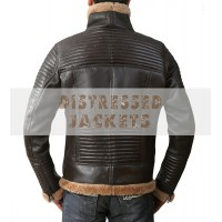 B3 Bomber Submariners Ginger Brown Quilted Leather Jacket With Faux Fur | Leather Jacket For Men's