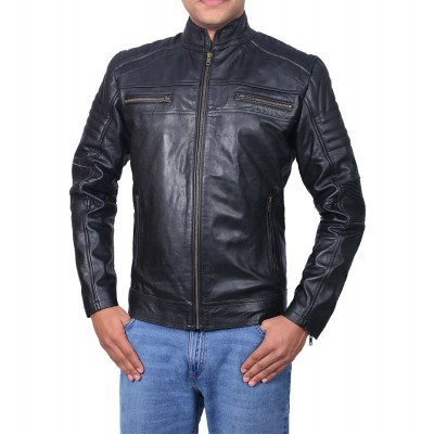Cafe Racer Men's Classic Black Biker Real Leather Jacket