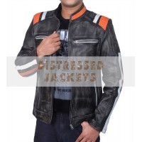 Retro Cafe Racer Classic Double Stripe Jacket | Men's Distressed Black Leather Jacket