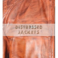 CLASSIC DIAMOND TAN CAFE RACER WAXED BROWN RIDER LEATHER JACKET